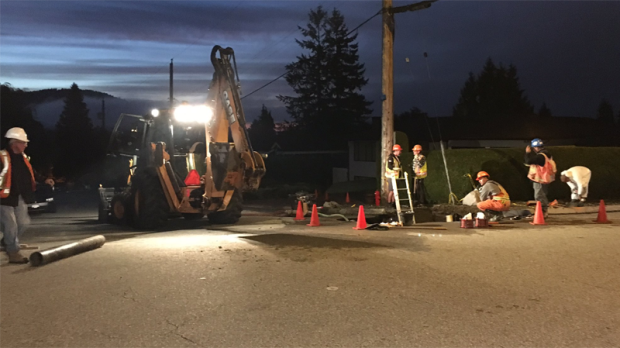 As many as 10 homes were damaged after a water main break sent torrents of water gushing through a residential area of North Vancouver on Sept. 29, 2016.