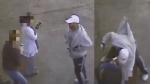 Surveillance footage released by police shows a man violently attacking two women moments after approaching them in East Vancouver on April 5, 2016. (Handout)