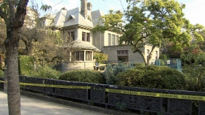 Gabriola House mansion remains cordoned off with police tape the day after officers arrived for what's described as a serious investigation. Sept. 29, 2016. (CTV)