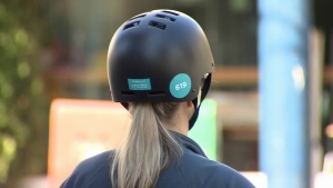 Mobi says helmet liners are provided at all the bike share stations that have information signs. (CTV)