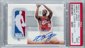 A one-of-a-kind LeBron James rookie card from Upper Deck's 2003/04 Ultimate Collection is seen in the image from the Goldin Auctions website.