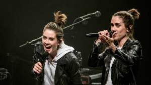 Grammy-nominated Canadian pop duo Tegan and Sara, who are touring their new album 'Love You to Death,' play the Queen Elizabeth Theatre in downtown Vancouver. Oct. 5, 2016. (Anil Sharma/CTV)