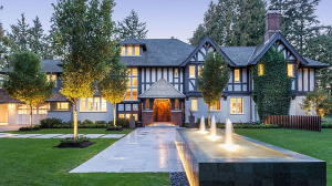 The 10,000-square-foot Tudor-style mansion in Vancouver, listed for $38-million, is situated on 4.25-acres of manicured grounds with views that stretch to B.C.'s Gulf Islands.  The Gables, which features six bedrooms and nine bathrooms, has a 65-foot infinity pool, wine cellar, several rooftop decks, a putting golf course, outdoor fire pit and private lake. (DavidHung.ca)