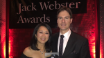 CTV Vancouver reporters Mi-Jung Lee and St. John Alexander pose with their Jack Webster Award for Best TV News Reporting of the Year. Oct. 21, 2016.