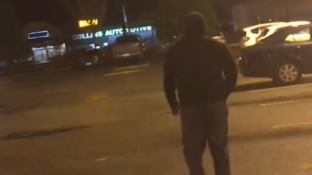 The target of a Creep Catchers sting walks away after a confrontation in Abbotsford, B.C. The subject of the video is a B.C. principal, according to the vigilante group. (Creep Catchers)