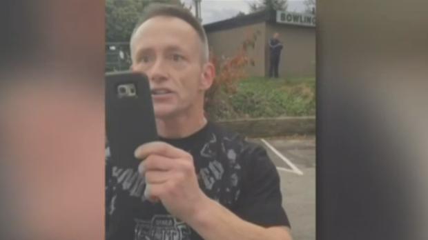 A man was filmed unleashing a racist tirade in an Abbotsford parking lot on Oct. 21, 2016.