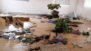 Photos show the Muslim centre in Sept-Iles was ransacked (photo: Nizar Aouini / Facebook)