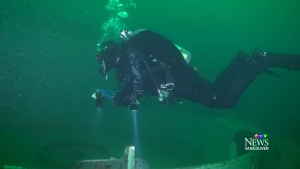 Rare underwater view of artificial reef in Howe Sound