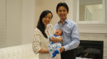 Florence Leung, her husband Kim Chen and their newborn baby are seen in a photo provided to CTV News by a family friend.