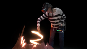 A woman paints using Google's Tilt Brush virtual reality application, one of many available at UNIVRS lounge in Richmond, B.C. (Google/YouTube)