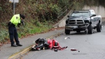 A motorcyclist has died from his injuries after crashing into a pickup truck in Abbotsford Saturday morning. (CTV)