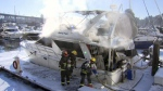 Firefighters were able to extinguish the blaze before it spread to other boats or the dock.