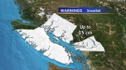 Up to 20 cm of snow are expected in some areas of B.C.'s South Coast as an intense storm hits the region.
