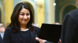 Maryam Monsef is sworn in as Minister of Status of Women during a ceremony at Rideau Hall in Ottawa on Tuesday, Jan 10, 2017. (Sean Kilpatrick / THE CANADIAN PRESS)