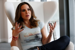 Mexican actress Kate del Castillo gestures as she speaks during an interview with The Associated Press, Monday, Jan. 16, 2017, in Miami. (AP Photo/Wilfredo Lee)