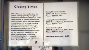 The CarePlace Medical Clinic is one of many feeling the strain on its doctors, posting a notice on the door that reads in part: 'This clinic may close earlier than the posted times (especially during busy times) dur to government imposed limits to the amount of patients a doctor can see in one day.'