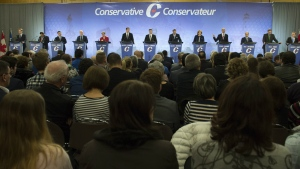 Leadership candidates participate in the Conservative Party French language leadership debate in Quebec City on Tuesday, Jan. 17, 2017. (Jacques Boissinot / THE CANADIAN PRESS)