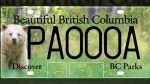 Each plate depicts a scene from a popular B.C. park or recreational area.