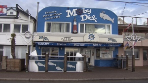 The Moby Dick fish and chips restaurant's White Rock, B.C. location is seen on Jan. 18, 2017. (CTV)