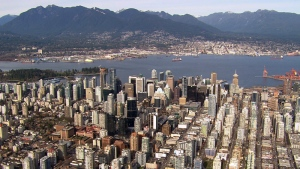 The Vancouver skyline is shown in an image taken from CTV's Chopper 9.