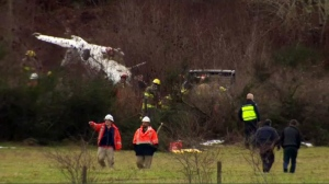 Two people were rushed to hospital, one in critical condition, after a small Cessna plane struck power lines in a crash just north of Duncan airport. Jan. 19, 2017. (CTV Vancouver Island)