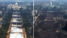 This pair of photos shows a view of the crowd on the National Mall at the inaugurations of President Barack Obama, above, on Jan. 20, 2009, and President Donald Trump, below, on Jan. 20, 2017. The photo above and the screengrab from video below were both shot shortly before noon from the top of the Washington Monument. (AP Photo)