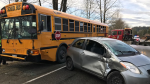 Eight children were treated for minor injuries after a sedan crashed into a school bus in Mission, B.C. on Friday morning. Jan. 20, 2017. (Handout)