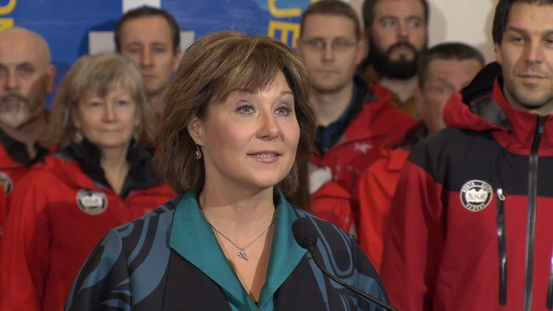 Premier Christy Clark speaks at a news conference on Friday, Jan. 20, 2016.