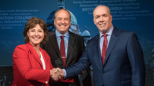 Christy Clark, Andrew Weaver and John Horgan