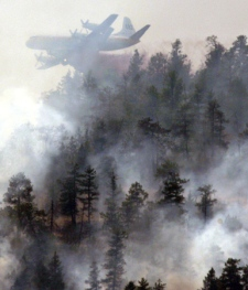 A water bomber drops fire retardant on a wildfire burning on the side of a mountain in Kelowna, B.C., on Sunday July 19, 2009. (Darryl Dyck / THE CANADIAN PRESS)