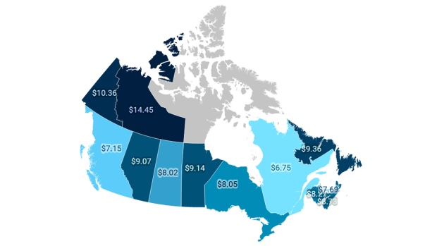 A map showing the price of legal cannabis