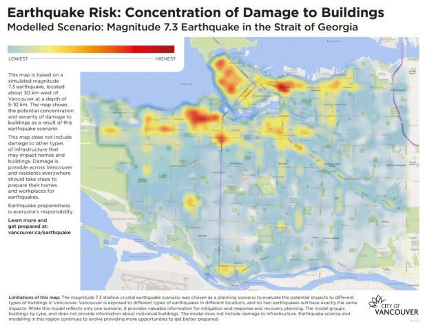 Earthquake Vancouver map