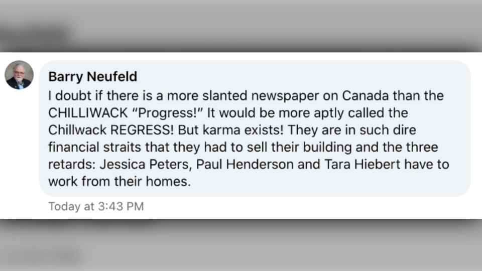 Barry Neufeld comment