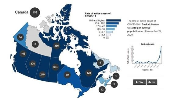 COVID-19 infections across Canada