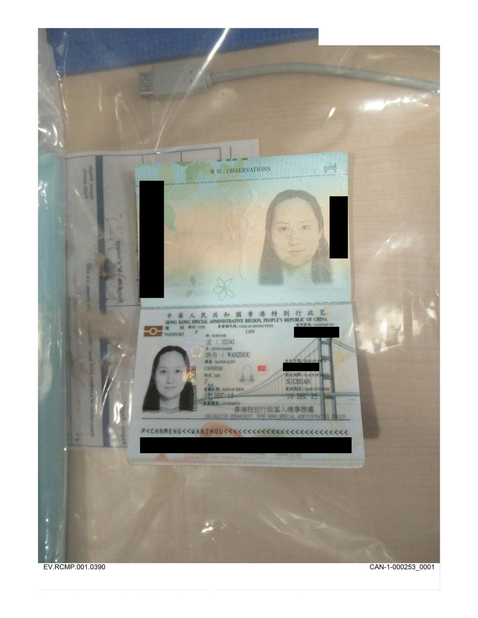 Meng's passport