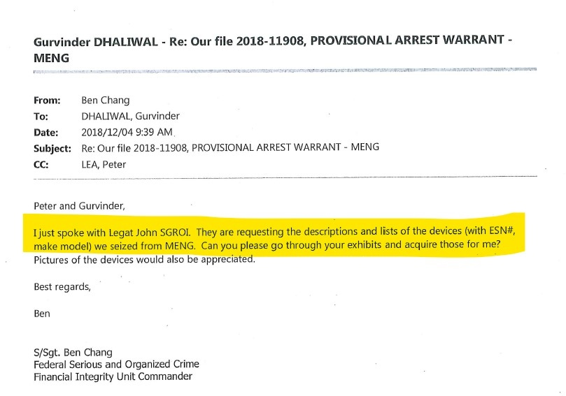Email from Chang to Dhaliwal