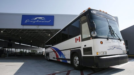 A bus departs from the newly opened Greyhound Terminal at the James Richardson International Airport in Winnipeg Thursday, September 3, 2009. (THE CANADIAN PRESS/ John Woods)