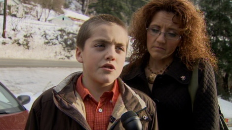 Austin Forman, 11, was out fetching some firewood in his family's yard when he encountered the cougar. Jan. 3, 2010. (CTV)