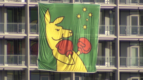 A flag of Australia's boxing kangaroo is seen flying over the Vancouver Olympic athletes villages. Feb. 5, 2010.