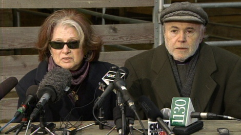 Walter Koenig and his wife, Judith, address reporters hours after the body of their son, Andrew Koenig, was found in Stanley Park. Feb. 25, 2010. (CTV)