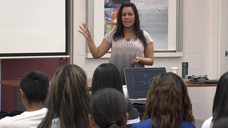 Natasha Falle talks to Vancouver high school students about her experiences being trafficked in the sex trade. May 17, 2012. (CTV)