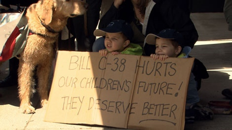 British Columbians protested against the Conservative omnibus budget bill on Saturday. June 2, 2012. (CTV)