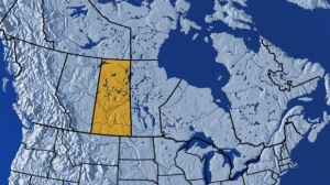The province of Saskatchewan is seen in this map of Canada.