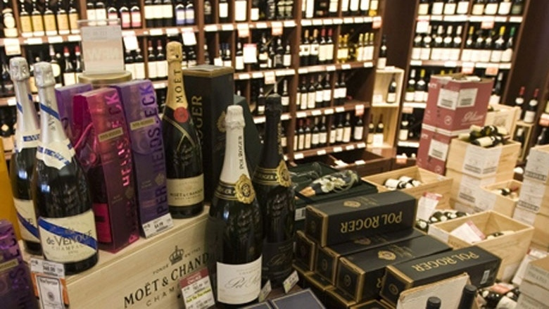 High-end wine is on display at a BC Liquor Store in Vancouver, B.C. on Friday, Dec. 19, 2008. (Jonathan Hayward / THE CANADIAN PRESS)