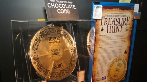 The 25-pound chocolate coin at Science World in this undated photo is valued at $625 and is part of the Treasure! exhibition. (Bill Chung/Science World)