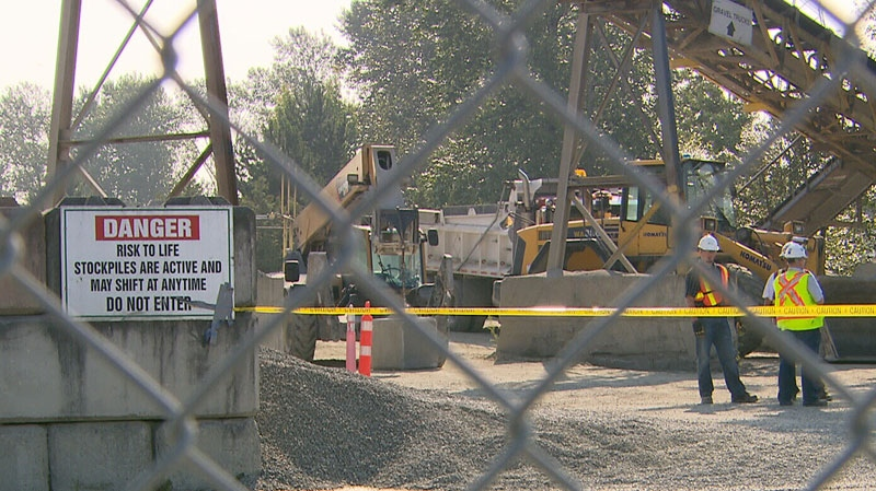 WorkSafe BC is investigating after a worker was crushed to death by a load of gravel at the Lafarge Canada site in South Vancouver. July 10, 2012. (CTV)