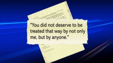 A detail from an apology letter written by Vancouver Const. Taylor Robinson to Sandy Davidsen after he shoved her to the ground. July 23, 2010. (CTV)