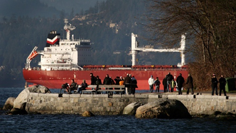 People walk along the Stanley Park Seawall as a cargo ship waiting to enter port sits anchored at the mouth of Burrard Inlet in Vancouver, B.C. (CP/Darryl Dyck)
