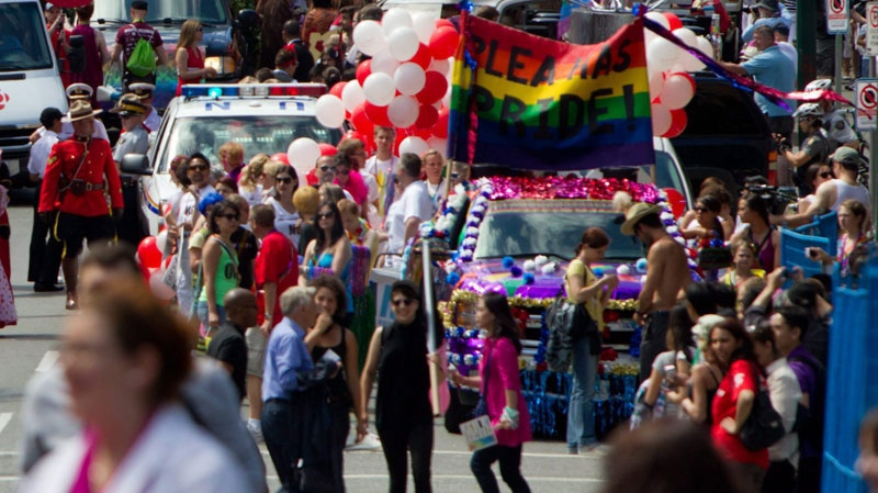 People take part in the Vancouver Pride Parade in Vancouver, B.C., on Sunday, July 31, 2011. (THE CANADIAN PRESS/Darryl Dyck)