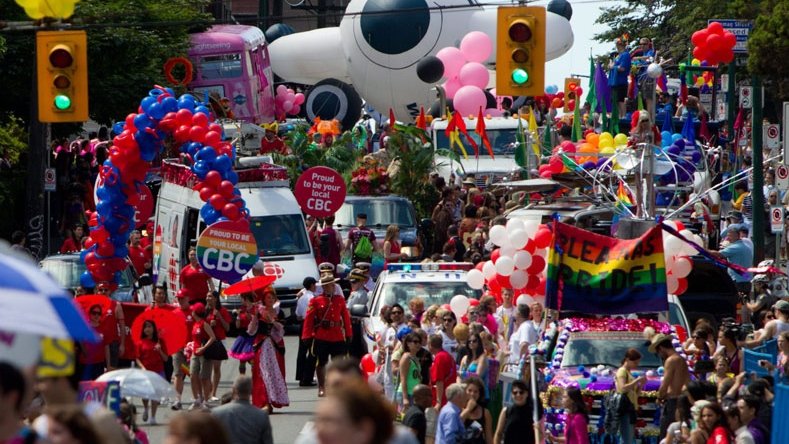 People take part in the Vancouver Pride Parade in Vancouver, B.C., on Sunday July 31, 2011. Organizers expected more than 700,000 people to attend the event. (THE CANADIAN PRESS/Darryl Dyck)